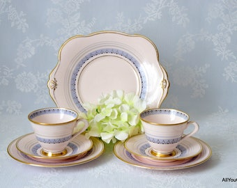 Pink Tuscan Tea Set, Vintage Bone China, Vintage Tuscan China, Hand Painted Design, Wedding Tea Set, Pink Tea Set, Perfect Gift, c 1930 s