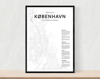 Copenhagen map print, City map of Copenhagen, Copenhagen map wall art, Copenhagen wall art, Copenhagen poster, Copenhagen map poster