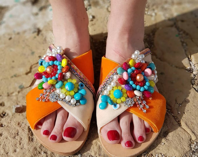 DHL FREE Greek sandals/embellised/beads sandals/genuine leather sandals/colorful sandals/crystals/sparkly/women shoes,handmade/Strappy