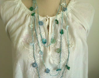 crochet beading and fine cotton necklace