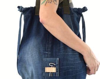 2 in 1 Repurposed denim drawstring backpack and tote bag