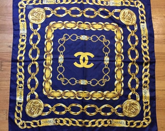 "CHANNEL 34"" Vintage 1980s 100% Silk Scarf Very RARE"