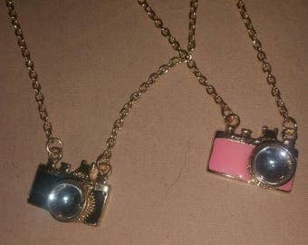 Enamel Camera Pendant and Necklace