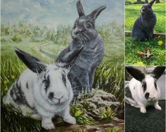 Custom pet portrait painting custom pet painting pet portrait oil painting custom portrait from photo rabbits painting art commission canvas