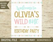 Wild One Birthday Sign, Wild One Welcome Sign, Wild One Party Sign, Tribal Party Decor, Tribal Birthday Decor, Print, OLIVIA, DIGITAL FILE