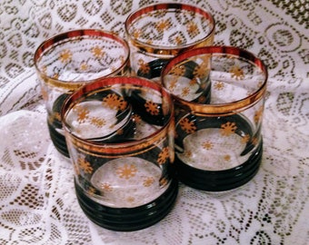 Lovely 'SNOWFLAKES' Decorative Vintage Cocktail Glasses - Gold Band & Ridged Black Band Bottom - ca 1990