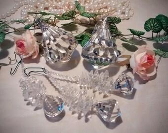 Vintage Christmas Ornaments in Crystal - 2 Large – 3 Medium