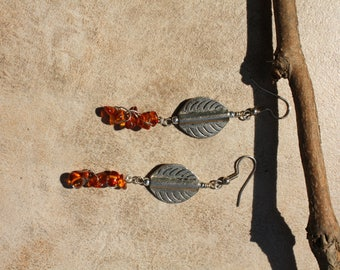 28 Carnelian and silver charm dangle earrings, boho, artisan, rustic, earth