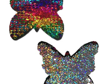 Pasties - Monarch: Rainbow & Silver Glitter Color Changing Sequin Nipple Pasties by Pastease® o/s