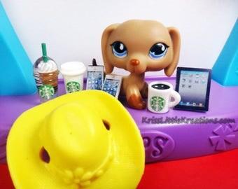 Littlest Pet Shop 8pc Custom Grab Bag Lot *Includes 1 Random LPS Dog* Starbucks Tablet Cell Phone Hat Accessories