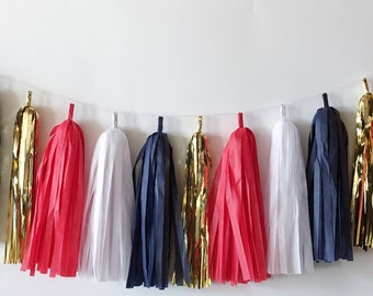 Navy Tissue Tassel Garland  //  Red, White and Blue // 4th of July //  Americana //  4th of July Party