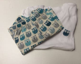 Pajama pants cotton boy or girl, theme owls
