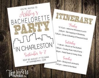 Charleston Bachelorette Party Invitation & Itinerary - CHARLESTON Bachelorette Party - South Carolina Bachelorette - Printable Invitation