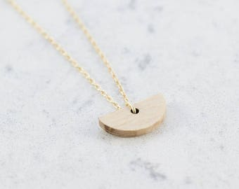 Half moon shaped necklace made of beech,wood,