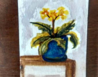 Artist Trading Cards,   Original Art Yellow Periwenkle,   Frameable Art,  Botanical,Floral Art