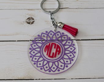 Circle keychain - Monogram keychain - Mandala keychain - Backpack keychain