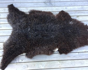Supersoft sheepskin rug Norwegian pelt sheep curly brown grey 17159
