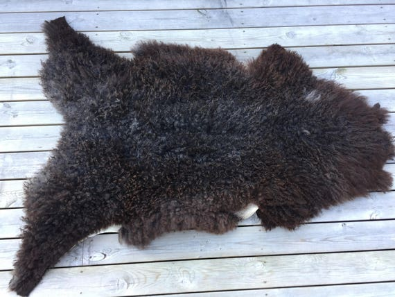 Supersoft sheepskin rug Norwegian pelt sheep curly brown grey 17159