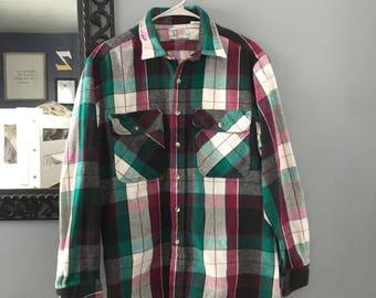 Vintage 80s 90s Plaid Private Property Flannel Button Up Size L Large Purple Green Men's Women's Grunge Flannel Shirt
