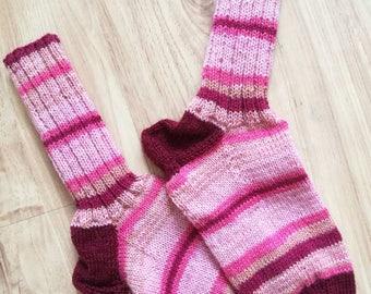 Wool socks, knitted socks, warm feet, striped socks, teen socks, hand knit socks, women socks, cold feet, colorful socks, pink socks