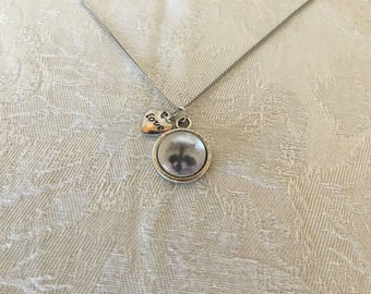 Glass Raccoon Silver Tone Pendant Necklace