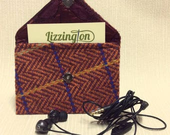 Welsh tweed business card case/headphone case/pouch in dark red & tan herringbone with yellow and blue check