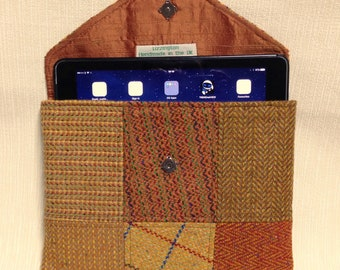 Welsh tweed patchwork iPad case/tablet case in orange