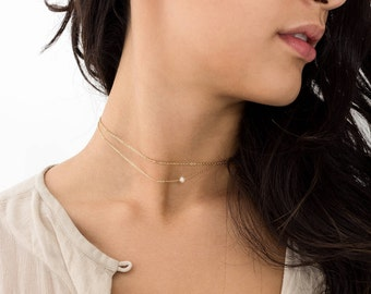 Layered Choker Necklace With Pearl • Tiny Pearl Layered With Dainty Chain • Pearl Choker • Gold Fill, Sterling, Rose Gold  • LN272_aj