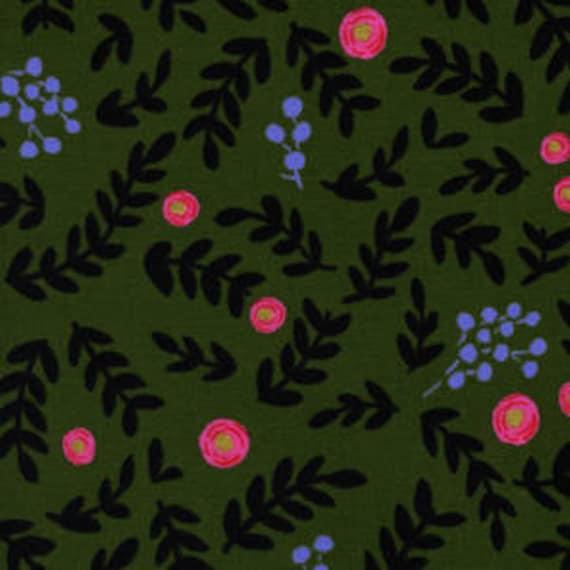 Cotton and Steel - Rifle Paper Co - Wonderland - Rose Garden in Moss Metallic