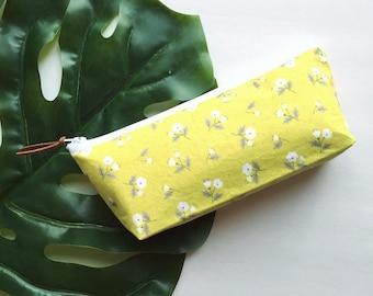 Chartreuse Floral Zipper Pouch