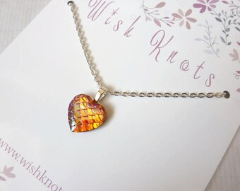 Orange Dragon Heart Necklace / Mermaid Tail Pendant / Mermaid Scale / Dragon Heart / Fantasy Gift / Chain / Colourful Layering Jewellery