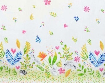 QUILTING COTTON Michael Miller Frolic Double Border. Sold by the 1/2 yard
