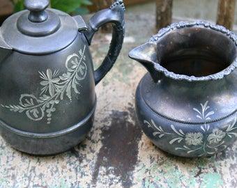 Vintage Silverplate Tea Pot and Creamer