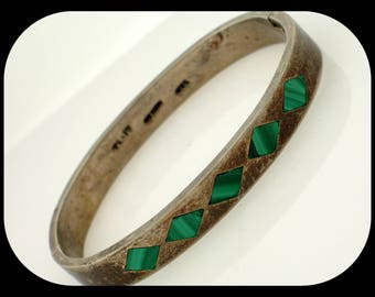 Vintage MEXICO TL-17 925 Sterling Silver & Malachite Hinged Cuff Bangle BRACELET