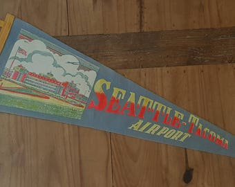 Vintage Seattle Tacoma Airport pennant