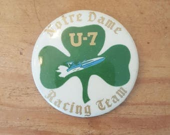 Vintage pinback for famous hydroplane, Notre Dame