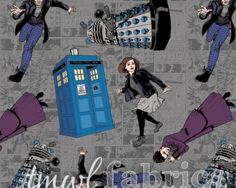 Woven Fabric - BBC Doctor Who Character Toss Grey - Fat Quarter Yard +