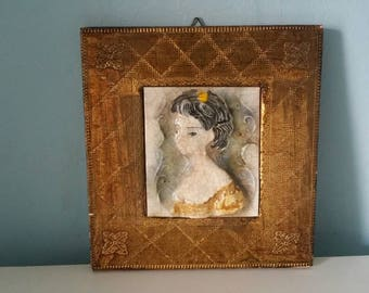 Beautiful majolica reliëf tile by Emanuel Terzani!  Framed art tile with beautiful girl