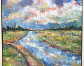 Bald Head Creek and Lighthouse / Southport NC/ Coastal NC acrylic artwork