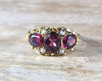 Victorian Garnet Pearl Gold Ring