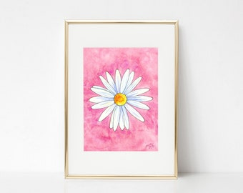 Daisy DIGITAL DOWNLOAD, Spring Printable Art, Spring decor, Pink and white daisy, spring flowers, Easter printable, Spring printable art