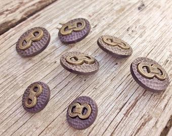 Figure of 8 knot buttons, 7 button set, blazer buttons, smart buttons, cardigan buttons, bronze colour buttons, boutons originaux