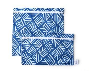 Sacs à sandwich et collation réutilisables - Mosaïque - Reusable bags - 1 snack bag 1 sandwich bag - Mosaïc