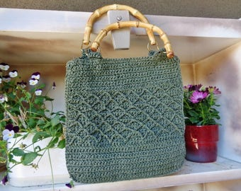 "Woven raffia bag . vintage 90's,  shoulderbag  ""Boho"""