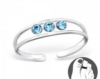925 Sterling Toe Ring with gemstones