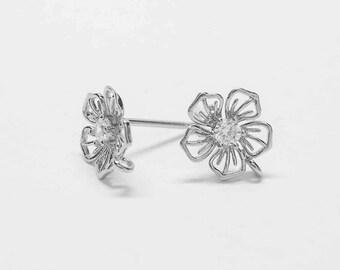 E0186/Anti-Tarnished Rhodium Plating Over Brass+ Cubic Zirconia/Flower Stud Earrings/8x10mm/2pcs