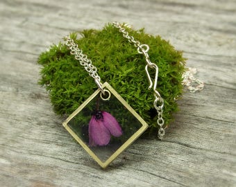 Tasmanian Real Flower Lilac Bell in Eco Resin Pendant