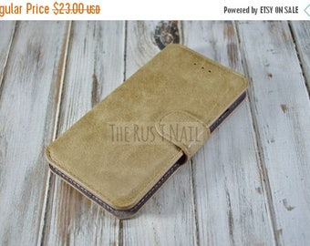 ON SALE FREE Screen Protector - Tan iPhone 6s Wallet Case - Genuine Leather