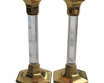 Vintage Brass & Lucite Hexagonal Candlesticks - a Pair
