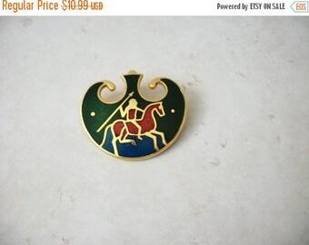 ON SALE Vintage Gold Toe Warrior Shield Enameled Pin 62217